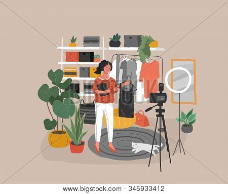 Fashion Stylist Woman In Scandinavian Interior Creating Content For Blog Or Live Broadcasting. Girl