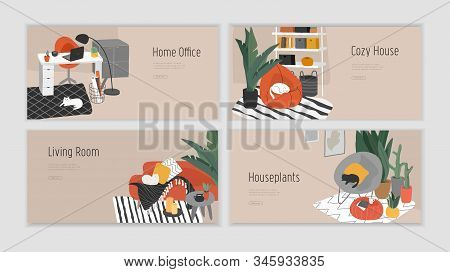 Landing Page Template For Interior Design. Hand Drawn Scandinavian Cozy Style Bathroom, Home Office