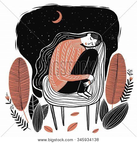 Cute Girl Sleeping, Collection Of Hand Drawn. Vector Illustration In Sketch Doodle Style.