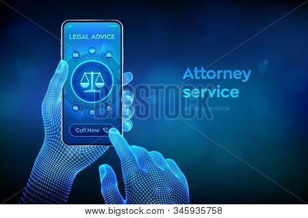 Labor Law, Lawyer Attorney At Law, Legal Advice Concept On Smartphone Screen. Internet Law And Cyber