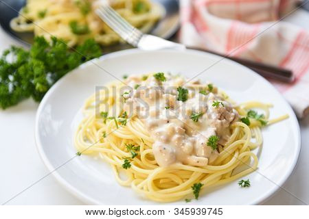 Spaghetti Italian Pasta Served On White Plate With Parsley In The Restaurant Italian Food And Menu C