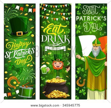 Happy Saint Patrick Day, Irish Party Holiday Vector Banners, Ireland Flags And Shamrock Clover Leave