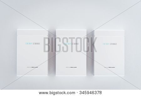 Concept Of A Residential Integrated Battery Energy Storage System. Multiple Modern White Lithium Ion
