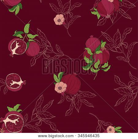Vector Seamless Pattern With Pomegranate Fruits And Seeds On Burgundi Background. Design For Cosmeti