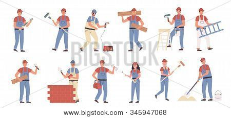 Builders And Repair Masters Flat Vector Illustrations Set. Construction And Repair Work, Constructin