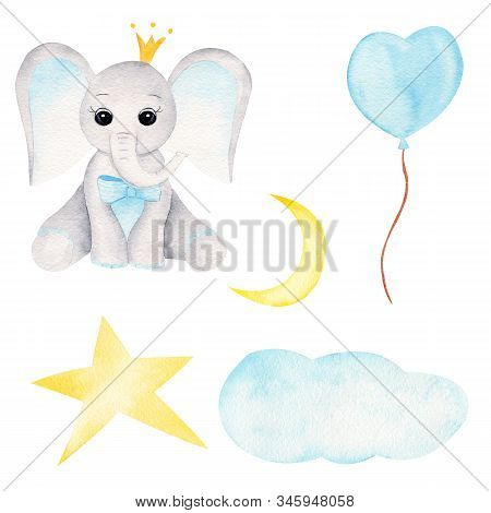 Prince Baby Elephant Hand Drawn Raster Illustration. Animal Boy, Balloon And Celestial Bodies Waterc