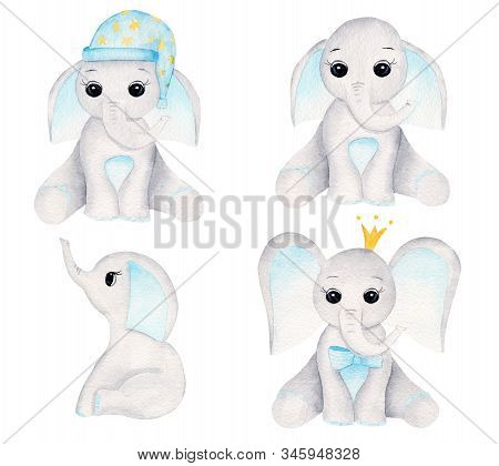 Elephant Calves Hand Drawn Raster Illustrations Set. Sitting Animal Boys Watercolor Compositions Pac