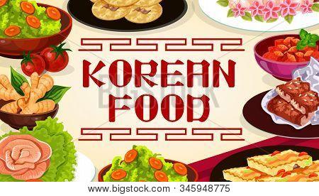 Korean Cuisine Food, Authentic Dishes, Asian Restaurant Menu, Cooking Recipe Book. Vector Korean Mea