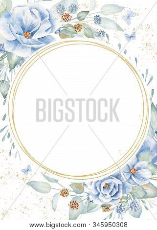 Circular Frame On Floral Background Hand Drawn Raster Illustration. Golden Round And Decorative Flax