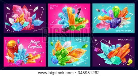 Magic Gemstones And Crystals With Polygons And Abstract Geometric Shapes. Vector Banners Of Diamonds