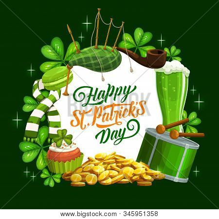 Irish St Patrick Day Holiday Celebration Shamrock Clover And Green Ale Beer Mugs, Pints. Vector Patr