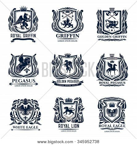 Heraldic Shield Badges With Lions, Eagles, Pegasus And Griffins. Vector Design Of Coat Of Arms And M