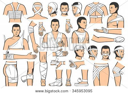 Trauma Bandaging Technique, First Aid Medical Emergency. Vector People Bandage And Guide For Leg, Ar