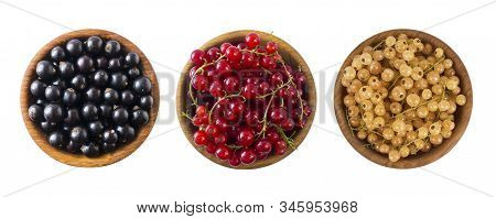 Set Of Different Color Currants Isolated On White Background Cut Out. White, Red And Black Currant I