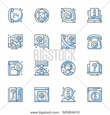 Customer Service, Online Support Linear Vector Icons Set. 24 Hours Call Center, Internet Assistance,