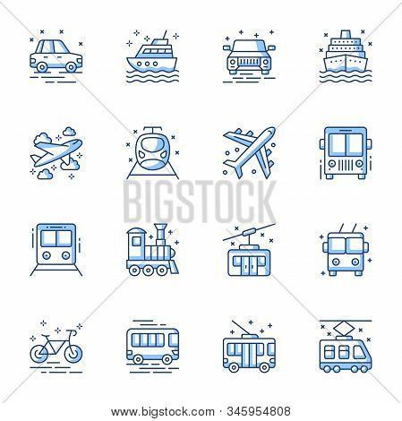 Transport Mean Linear Vector Icons Set. Passenger Vehicles, Public Bus, Metro, Tram Contour Symbols