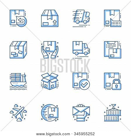Order Delivery And Cargo Shipment Linear Vector Icons Set. Logistic And Distribution Contour Symbols