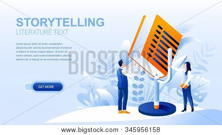 Storytelling Flat Landing Page With Header, Banner Vector Template. Sharing Stories, Reading Books,