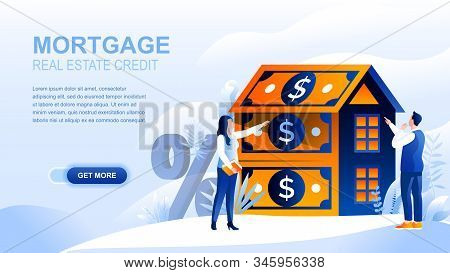 Mortgage Flat Landing Page With Header, Banner Vector Template. Loan To Buy Real Property, Real Esta