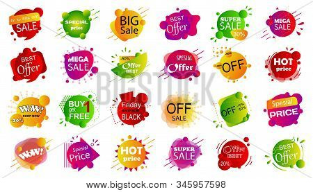 Set Of Sale Banner Badge Templates. Stickers Best Offer Price And Big Sale Pricing Tag Badge Design.