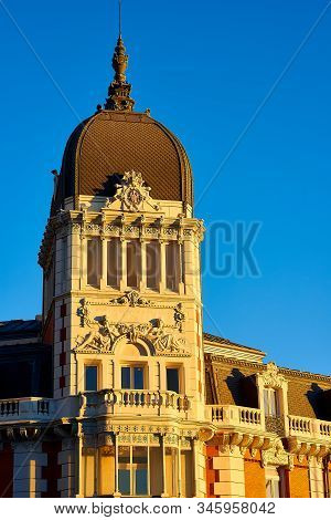 Madrid, Spain - January 10, 2020. Tower Of The Royal Asturian Mining Company Building At Sunset. Hea