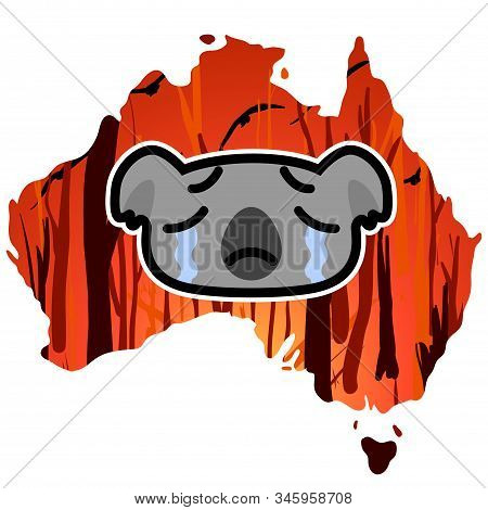 Weeping Koala Icon On A Australia Map Outline Background With A Burning Forest. Cartoon Vector Illus