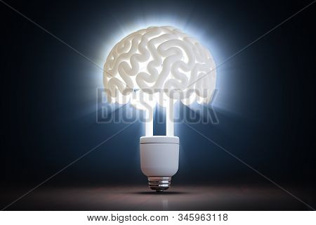 Light Bulb In Shape Of Brain. Idea And Innovation Concept. 3d Rendered Illustration.