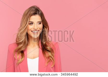 Happy Smiling Woman On Pink Background.