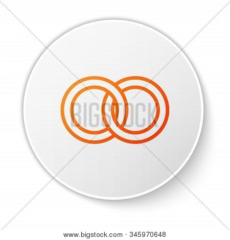 Orange Line Wedding Rings Icon Isolated On White Background. Bride And Groom Jewelery Sign. Marriage