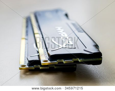 Varna, Bulgaria, January 19, 2020. Two Ram Kingston Fury Memory Modules On A Table. Dimm Ddr 4 Kings