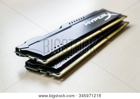 Varna, Bulgaria, January 19, 2020. Ram Kingston Fury On A Table. Two Dimm Ddr 4 Kingston Hyperx Fury