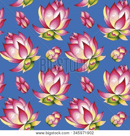 Blooming Lotus. Hand Drawn Decorative Seamless Pattern. Alcohol Markers Illustration. Isolated On A