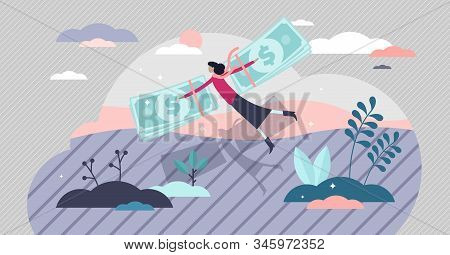 Money Freedom And Financial Independence Concept, Flat Tiny Rich Person Vector Illustration. Woman F