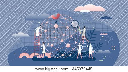 Ai Network Machine Learning Developers, Flat Tiny Persons Concept Vector Illustration. Abstract Cybe