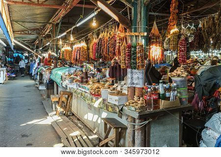 Kutaisi, Georgia, October 13, 2019 : Sweets, Vegetables And Fruit Counter In The Market In The Old P