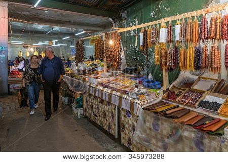 Kutaisi, Georgia, October 13, 2019 : Counter With Loose Spices And Sweets In The Market In The Old P