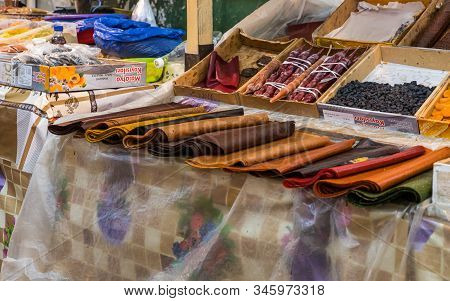Kutaisi, Georgia, October 13, 2019 : Sweets And Dried Fruits Counter In The Market In The Old Part O