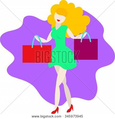 Happy Woman With Shopping Bags. Woman With Bags. Big Sale. Vector Illustration Of A Flat Design. Sal
