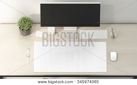 Blank White Desk Mat Mouse And Keyboard Mockup, Top View, 3d Rendering. Empty Rectangular Surface Fo
