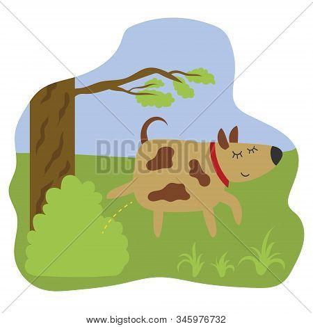 A Dog Fertilizes A Bush In A Park. Pissing Dog. Flat Windy Illustration.