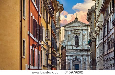 Rome, Italy. View at church Santa Susanna. Picturesque landscape in old historic district. Facade with entrance of antique temple.