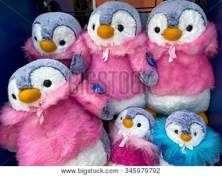 Orlando,fl/usa-1/17/20: A Bin Of Plush Stuffed Animal Penguins At Seaworld Orlando Ready For A Park