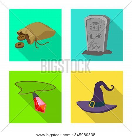 Isolated Object Of Witchcraft And Mystic Logo. Collection Of Witchcraft And Magic Vector Icon For St
