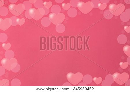 Frame Of Hearts On A Pink Background. Valentine's Day Concept. Copy Space