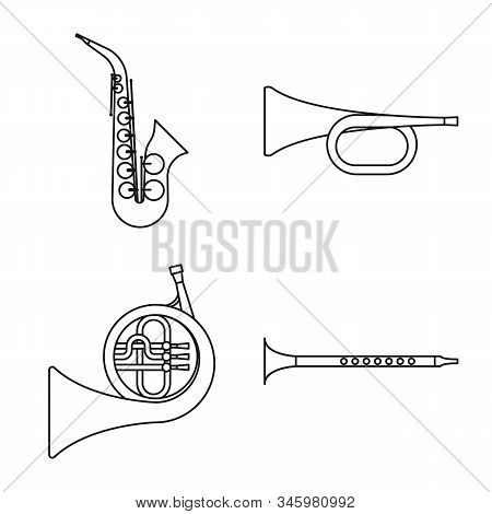 Vector Illustration Of Woodwind And Instrument Symbol. Set Of Woodwind And Play Stock Symbol For Web