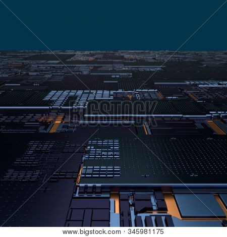 Circuit board futuristic server code processing. Angled view black color technology background. 3d rendering abstract circuit board