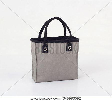 Gray Canvas Bag Isolated On White Background, Save Global Warming Concept