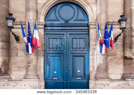 French Senate Monument Entrance In Paris, France