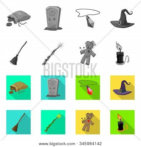 Vector Illustration Of Witchcraft And Mystic Symbol. Set Of Witchcraft And Magic Stock Vector Illust