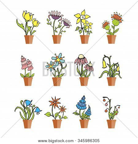 Icon Flowers In Pot Set Stylised Colorful Object Isolated Flat Design Stock Vector Illustration For